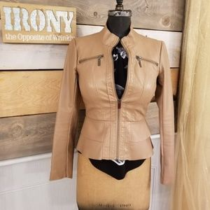 New York & Company Cream/Tan Waist Jacket Fitted